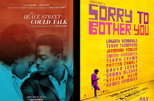 KiKi Layne, Stephan James and Lakeith Stanfield. Black woman and man face one another while rendered in orange and light blue hues underneath white text. Black man in purple suit stands against yellow wall with purple and pink and red and orange text