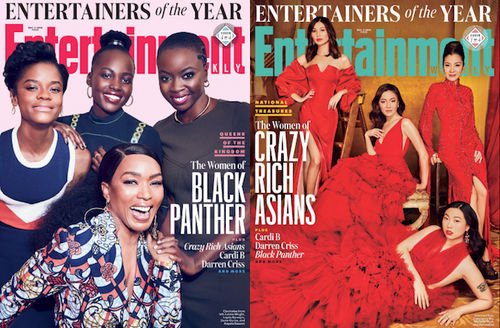 Letitia Wright, Lupita Nyong'o, Dania Gurira and Angela Bassett; Gemma Chan, Michelle Yeoh, Awkwafina and Constance Wu. Magazine covers featuring Black and Asian women on pink and red backgrounds in red and purple and pink outfits