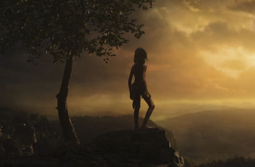 Rohan Chand. South Asian boy with long hair and brown loincloth stands on rock cliff next to brown tree and in front of sky with yellow sunset