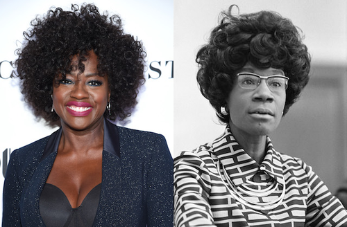 Viola Davis. Black woman with black afro in black top and sparkling black blazer smiles in front of white wall with black text; Shirley Chisholm. Black-and-white image of Black woman with black afro in patterned shirt and glasses in front of grey wall