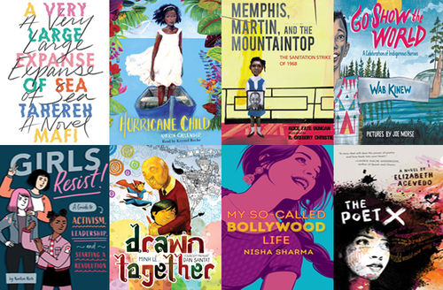 "Two rows of four books, ""A Very Large Expanse of Sea, ""Hurricane Child,"" ""Girls Resist,"" ""Go Show the World,"" ""My So-Called Bollywood Life,"" ""Drawn Together,"" The Poet X,"" ""Memphis, Martin and the Mountaintop."""