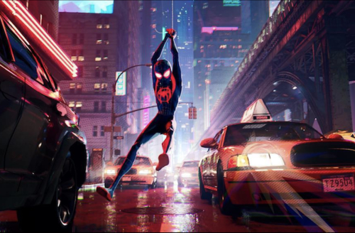 Miles Morales. Black Latinx teenage boy in black and red and white Spider-Man outfit swings on white web in dark purple and red cityscape
