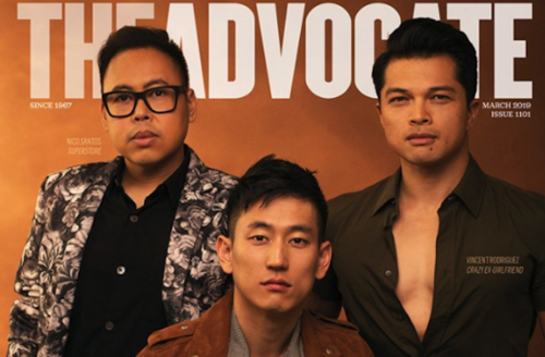 """Niko Santos, Jake Choi and Vincent Rodriguez III. Three Asian men in black and white and red and brown clothing pose in front of orange and brown background and grey text that spells """"THE ADVOCATE"""""""