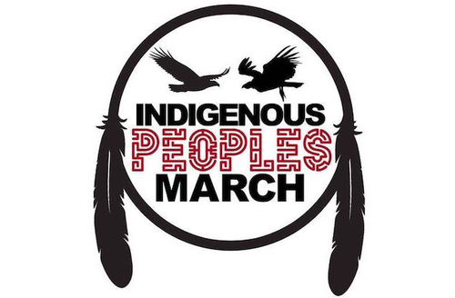 """Black and red text spells """"INDIGENOUS PEOPLES MARCH"""" underneath two black silhouettes of birds within black circle with black feathers on white background"""