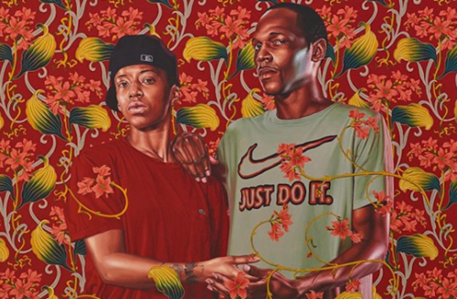 "Kehinde Wiley. Painting of Black person in red shirt and black hat next to Black man in grey shirt with red Nike logo and text spelling ""JUST DO IT"" holding each other's hand and surrounded by red and yellow and green flowers"