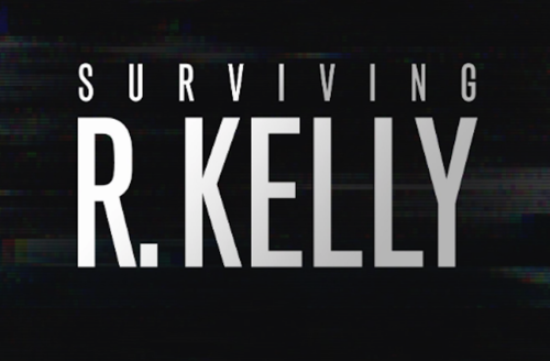 """Grey text spells """"SURVIVING R. KELLY"""" on black background with scrambled video"""