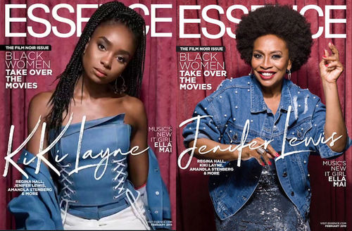 """KiKi Layne and Jenifer Lewis. Black woman with black dredlocs in blue top and white pants in front of dark red curtain and white text spelling """"ESSENCE""""; Black woman with black afro in blue jacket in front of red curtain and white text spelling """"ESSENCE"""""""