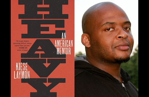 """Cover art for """"Heavy: An American Memoir"""" and Kiese Laymon. Black text spells """"HEAVY"""" and white text spells """"AN AMERICAN MEMOIR"""" and """"KIESE LAYMON"""" on red background; Black man in black hooded sweatshirt poses in front of green trees and grey sky"""