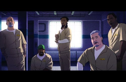 Illustration of Black and Brown and White incarcerated men in brown uniforms in front of white light and dark blue room.
