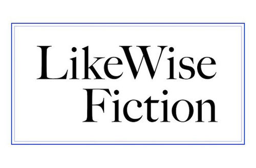 "Black text spells ""LikeWise Fiction"" in front of white background and inside of rectangular blue border."