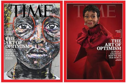"""Nelson Makamo and Cicely Tyson. Greyscale illustration of black child in red glasses behind black text reading """"TIME"""" and white text; Black woman in red outfit in front of red background and red text that spells """"TIME"""" and white text"""