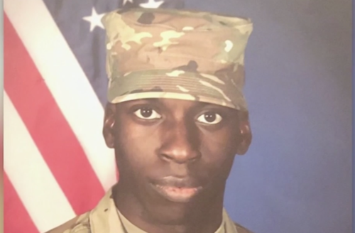 Screenshot of photo of murdered 21-year-old Alabama man Emantic Bradford Jr, who wears his military uniform.