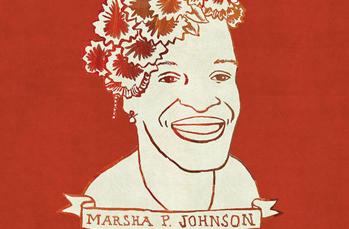 Marsha P. Johnson. Illustration of a bust of the public art monument.