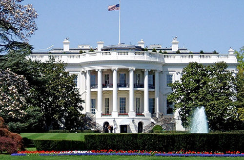 White House. South-facing view with fountain.