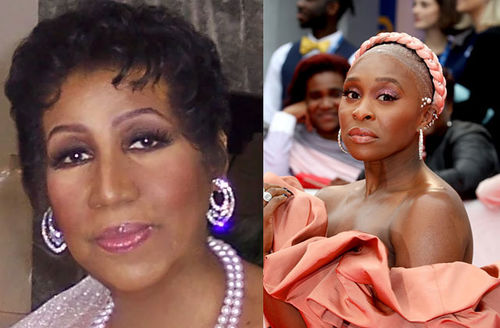 Aretha Franklin. Cynthia Erivo. One photo of an older Black woman with short hair and jewels. Another photo of a younger Black woman with short natural hair wearing coral colored dress.