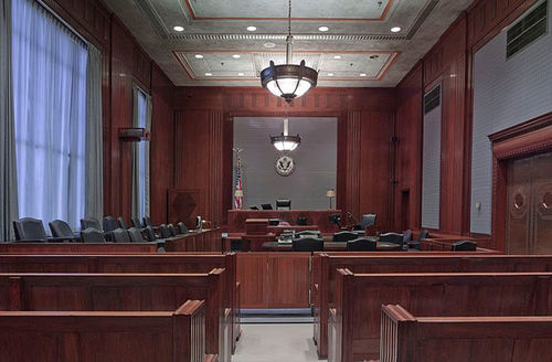 Courtroom. Empty courtroom showing judge and juror benches.