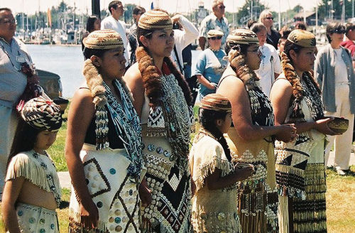 Wiyot Tribe. A gathering of young Indigenous people, dressed in traditional attire.