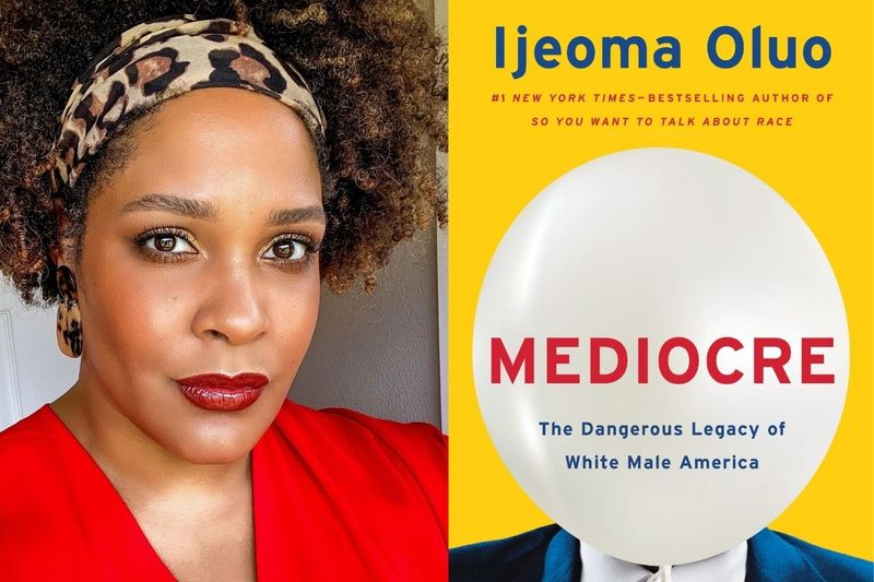 Photo of a Black woman, light brown, with a light brown textured afro, red lipstick and red v-neck; cover of Mediocre by Ijeoma Oluo