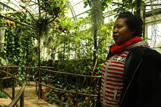 A Black woman wearing a shirt with red stripes stands inside the Garfield Park Conservatory on Chicago's Westside.