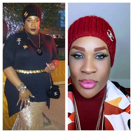 (L) Jeynce Mizrahi-Poindexter wearing a black dress and beanie, adorned with gold jewelry and Chanel monogrammed brooches. (R) A headshot of Jeynce donning a red beanie, pink lipstick, and a fierce stare.