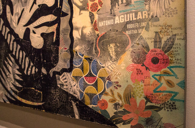 "The background collage of ""Conquistador"" includes statistics on femicide in Mexico, over-romanticized images of Chicano culture and the over-sexualization of women."
