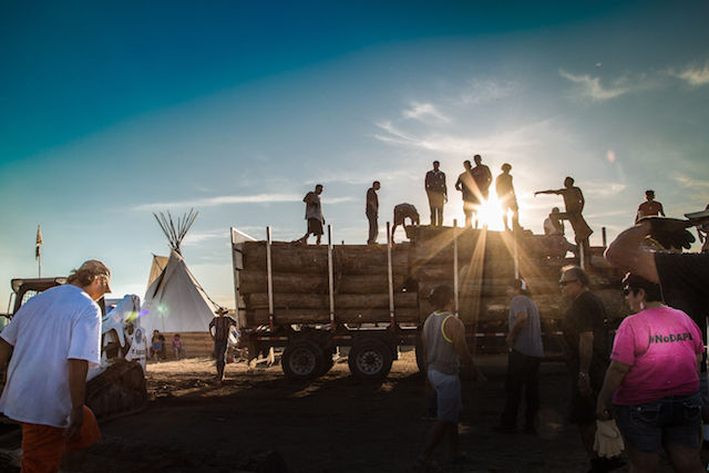 A truck filled with timber at the Oceti Sakowin camp