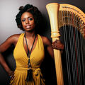 A Black woman with an afro wearing a yellow dress stands with a harp
