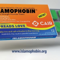 Islamophobin, orange and blue container with green gum in gray blister pack