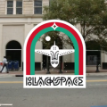 """Blackspace"" in white text with white airplane, green and red arches, cityscape in the background"