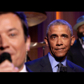 "Jimmy Fallon, President Barack Obama and Tariq ""Black Thought"" Trotter, dressed in blazers, purple background"