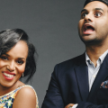 Kerry Washington on left with white pattened dress and Aziz Ansari on right with blue blazer and open mouth