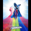 La Borinqueña in costume with Puerto Rican flag, over rainbow flag colors