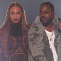 Beyonce in black outfit next to Kendrick Lamar in gray-green jacket