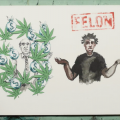 """Sketch of two men, one in charcoal and white with green marijuana leaves and charcoal money bags surrounding him and another with brown skin and a black shirt with the word """"felon"""" in red on top"""