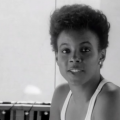 Black woman in black-and-white film