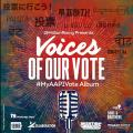 """""""Voices of Our Vote"""" album cover with black and white text, black and white microphone image against green and red background"""