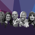 Greyscale images of seven Black and Brown people against purple and blue background
