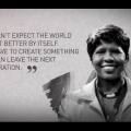 Greyscale image of Black woman with black-and-white necklace and grey coat against beige and grey background with dark grey text superimposed
