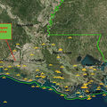 The map shows the proposed route of the 162-mile long Bayou Bridge Pipeline, as well as where pipeline accidents have occurred throughout the state, including in the Gulf of Mexico. Some accidents occurred on locations outside of the map.