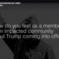 The black and gray silhouette of a person wearing a hoodie is the backdrop of text that asks affected communities about how they feel about Trump taking office.