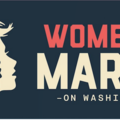 On a navy blue background, red, navy and white silhouettes of women