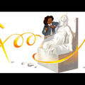 "Black woman on white stone sculpture with gold text spelling ""Google"" against White background"