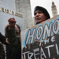Demonstrators rally near Trump Tower while protesting the construction of the Dakota Access pipeline on February 4, 2017, in Chicago, Illinois.