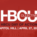 "Red background over photo of Capitol Building with words: ""HBCU Collective, HBCU Day of Action, Capitol Hill, April 27, 2017."""