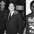 Black-and-white composite image of Black man in black hat, jacket and pants next to White man in black tuxedo and white shirt next to Black boy in dark t-shirt with white text