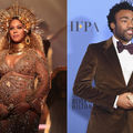 Black woman in gold dress and crown holding gold microphone in front of blurry brown background; Black man in brown tuxedo and bowtie holding gold award statue in front of light blue background