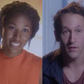 Black woman in orange dress in front of red-orange background; Native man in red shirt and navy jacket in front of blurry blue background