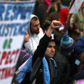 Protesters march during a demonstration against the Dakota Access Pipeline on March 10, 2017, in Washington, D.C. Thousands of protesters and members of Native nations marched in D.C. to oppose the construction of the pipeline.
