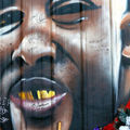 Mural of Alton Sterling's face