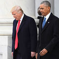 Barack Obama and Donald Trump. Men in overcoats stand at top of stairs.